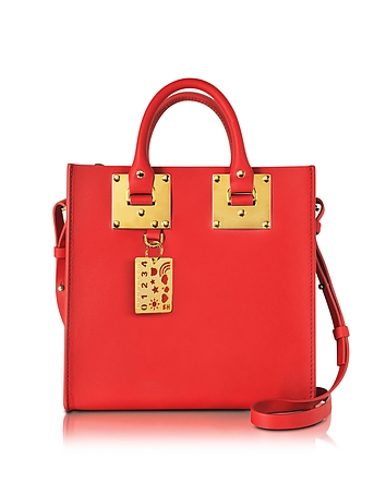 Coral Red Albion Saddle Leather Square Tote