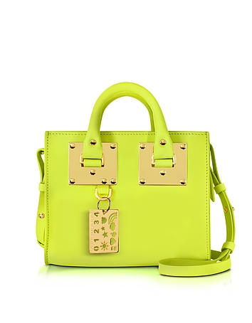 Sophie Hulme - Chartreuse Leather Albion Box Tote Bag