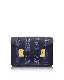 Black & Navy Glitter Milner Nano Envelope Bag - Sophie Hulme