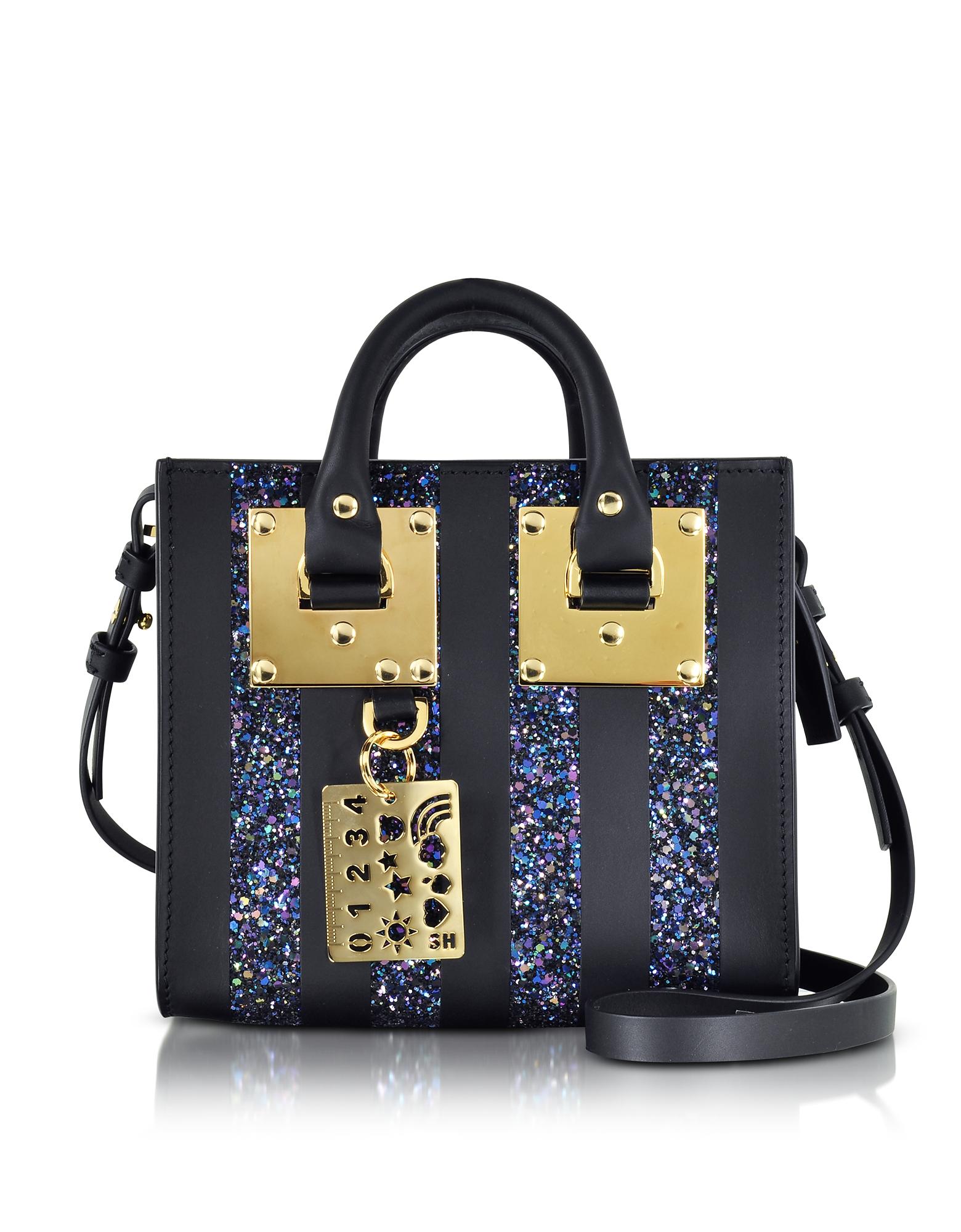Sophie Hulme Handbags, Black Saddle Leather Albion & Navy Blue Glitter Box Tote Bag