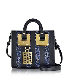 Black Saddle Leather Albion & Navy Blue Glitter Box Tote Bag - Sophie Hulme