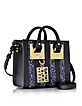 Black Saddle Leather Albion & Navy Blue Glitter Box Tote Bag - Sophie Hulme