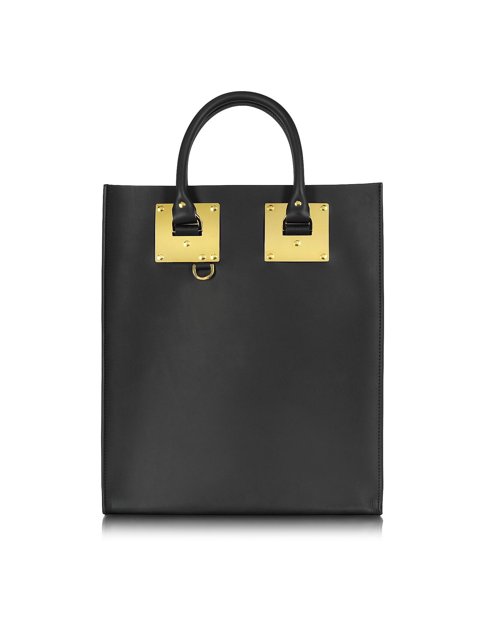 Sophie Hulme Handbags, Black Albion Mini Tote Bag w/Zip Pocket