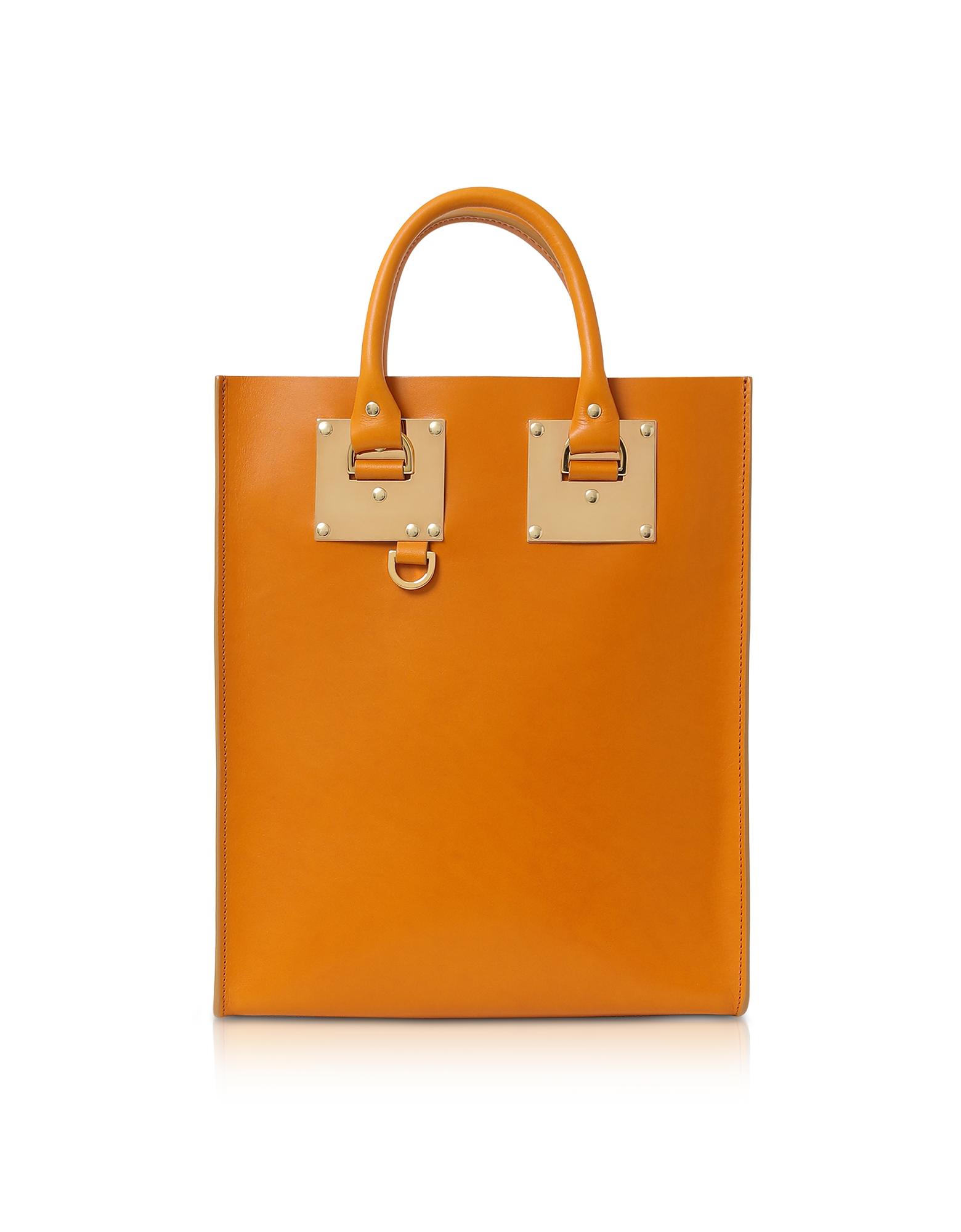 SOPHIE HULME | Sophie Hulme Designer Handbags, Mini Albion Toffee Shiny Saddle leather Tote Bag | Goxip
