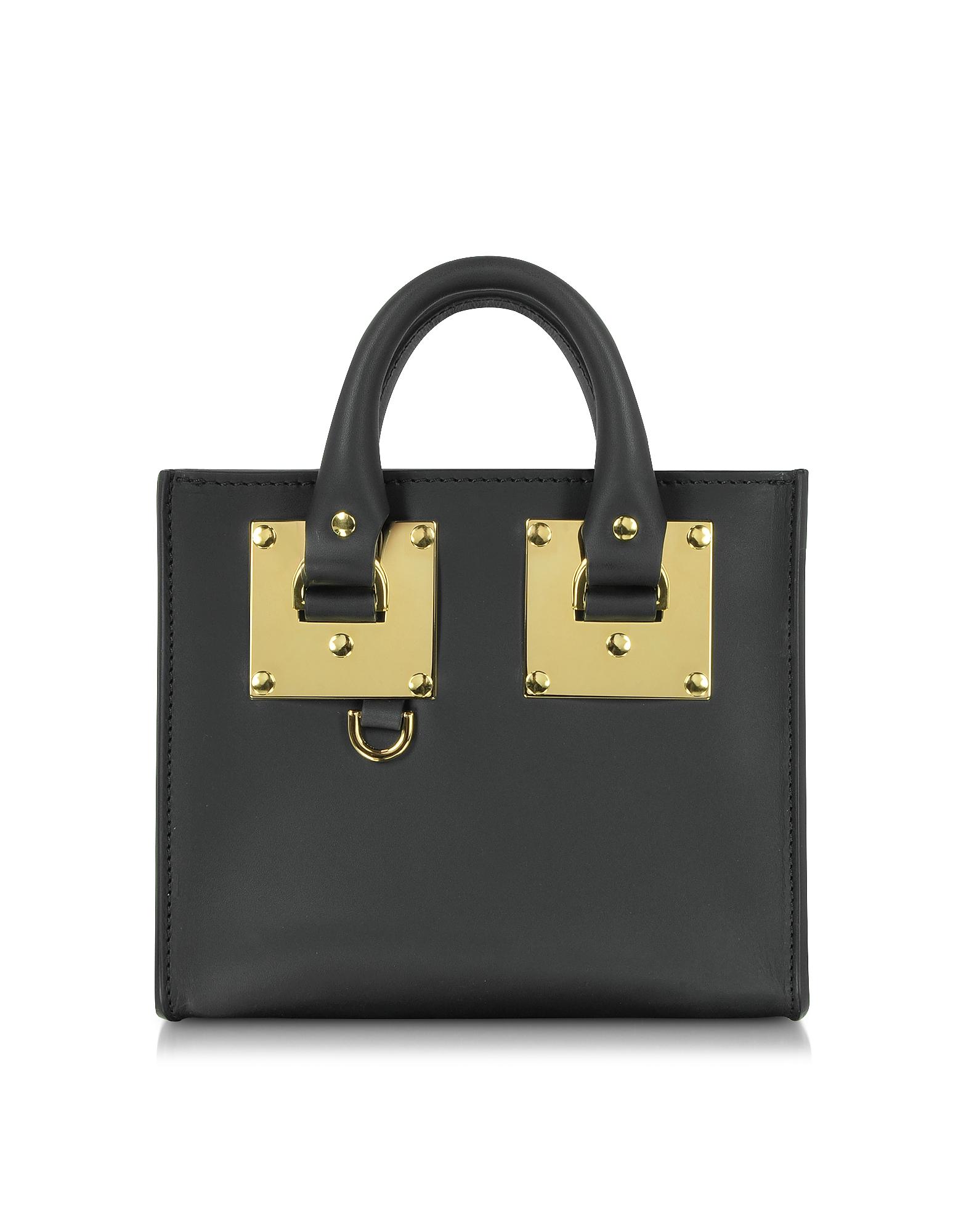 Sophie Hulme Handbags, Black Saddle Leather Albion Box Tote Bag