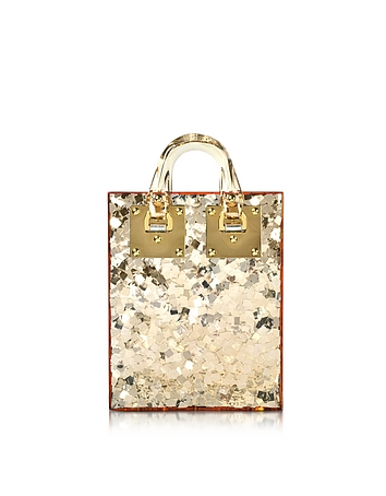 Sophie Hulme - Gold Sequins Perspex Compton Evening Mini Tote w/Chain Strap