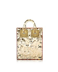 Gold Sequins Perspex Compton Evening Mini Tote w/Chain Strap - Sophie Hulme