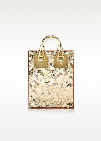 Gold Sequins Perspex Compton Evening Mini Tote w/Chain Strap - Sophie Hulme