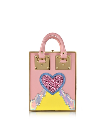 Sophie Hulme - Pink Multi Leather and Gold Metal Compton Mini Tote w/Chain Strap