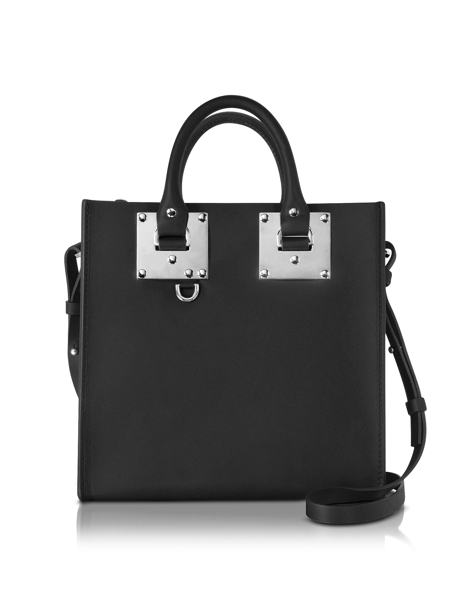 Image of Sophie Hulme Designer Handbags, Black Saddle Leather Square Albion Tote