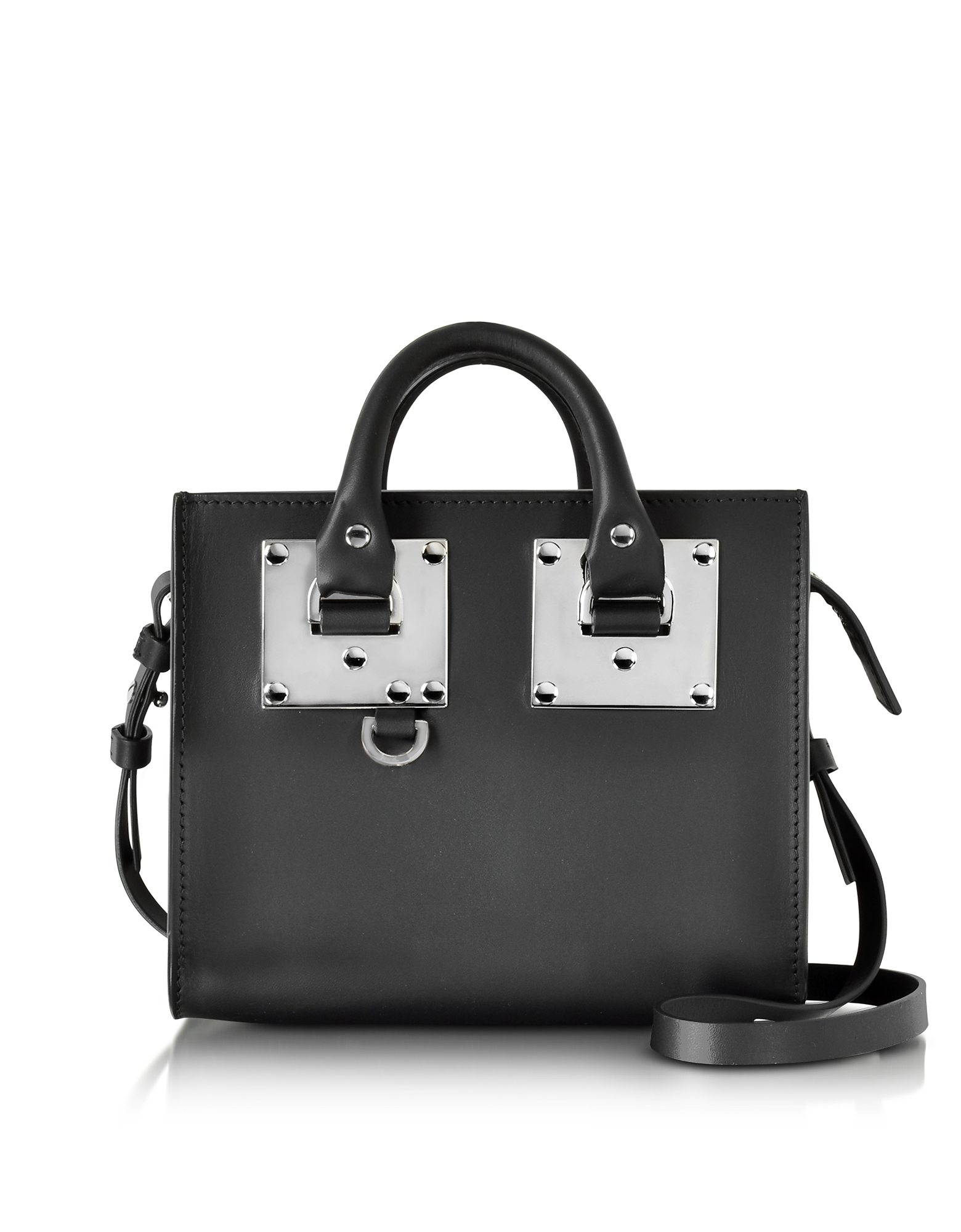 Sophie Hulme Handbags, Black Saddle Leather Albion Box Tote Bag