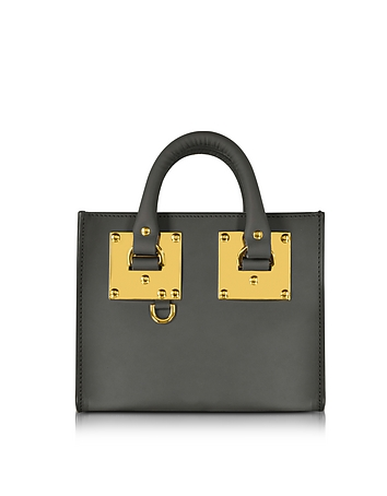 Charcoal Saddle Leather Albion Box Tote Bag