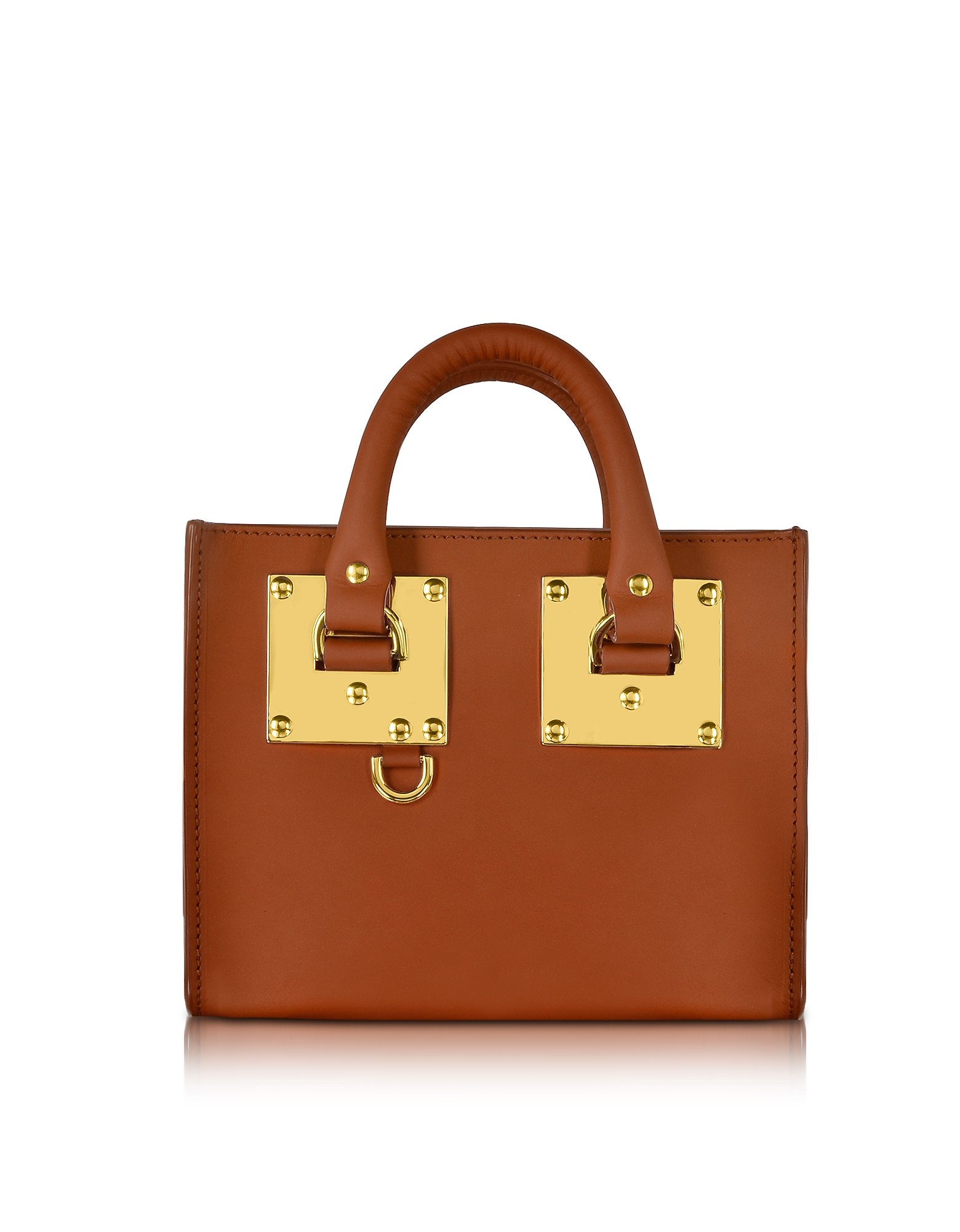 Sophie Hulme Handbags, Tan Saddle Leather Albion Box Tote Bag
