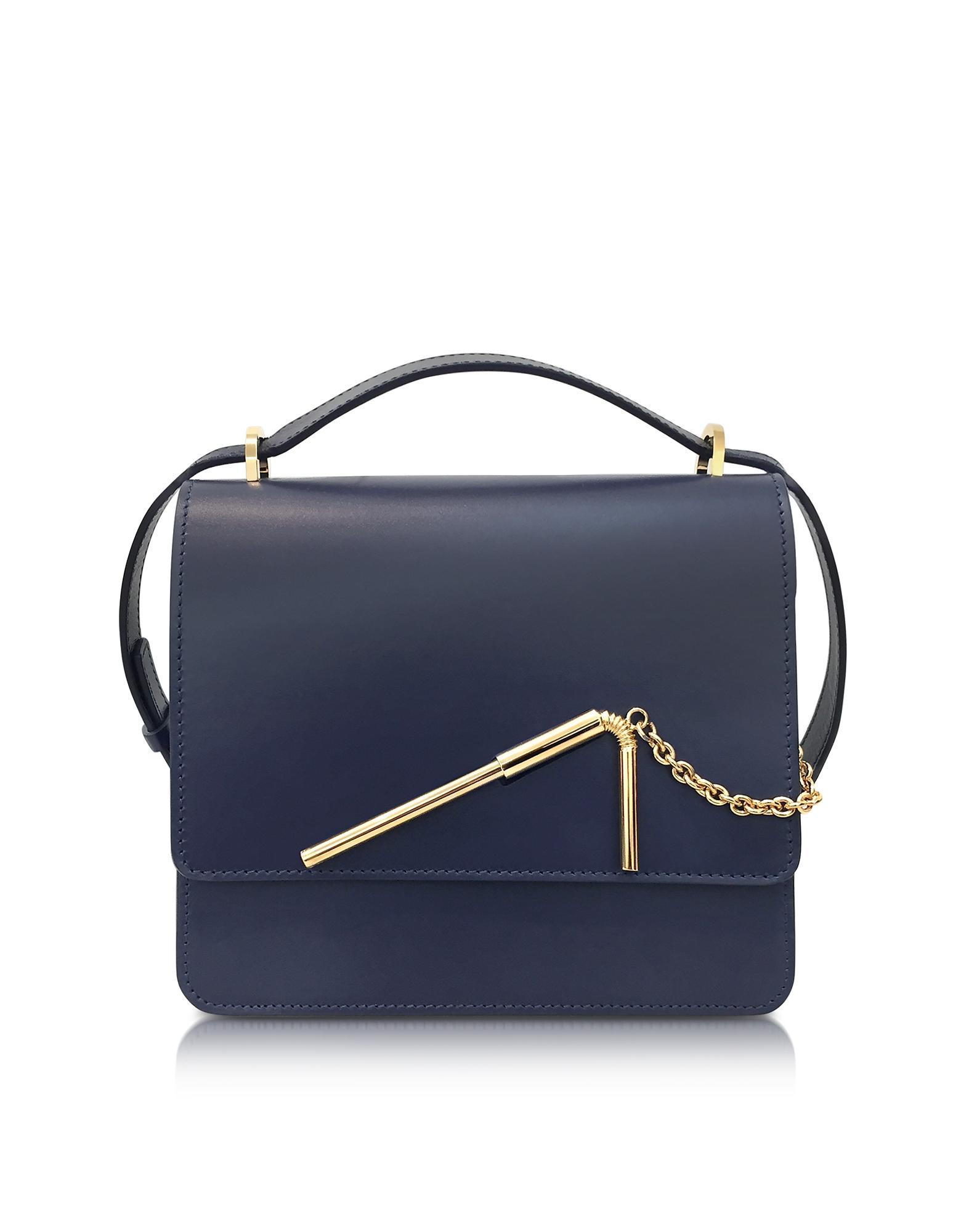 Sophie Hulme Deep Navy Medium Straw Bag