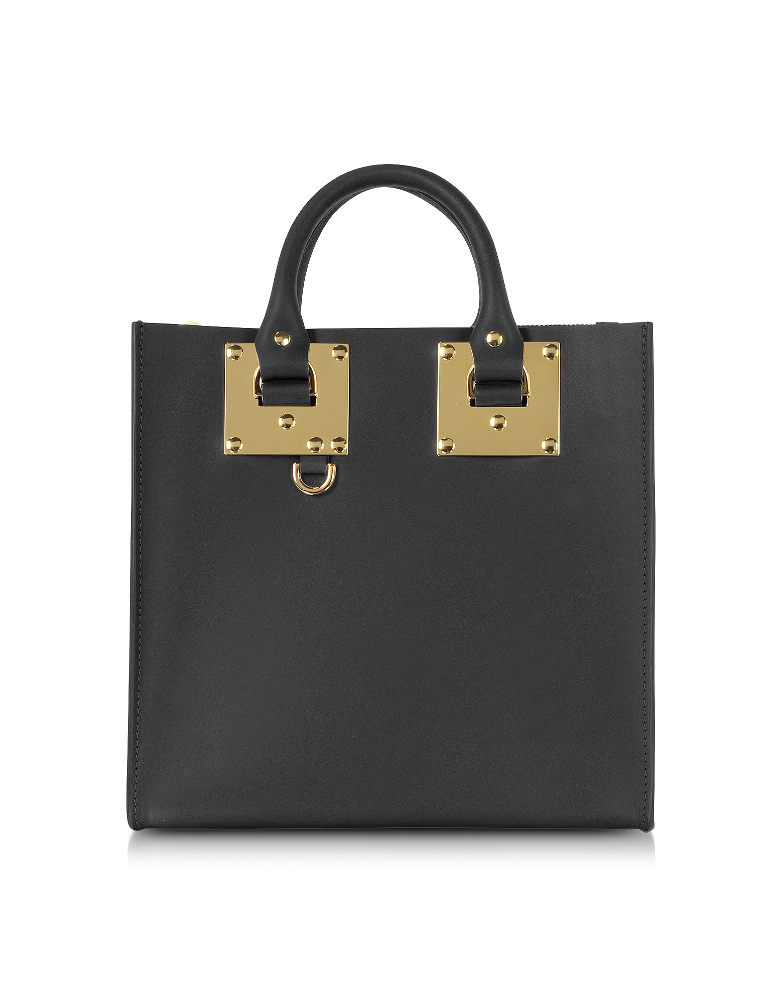 Image of Sophie Hulme Designer Handbags, Black Albion Square Leather Tote