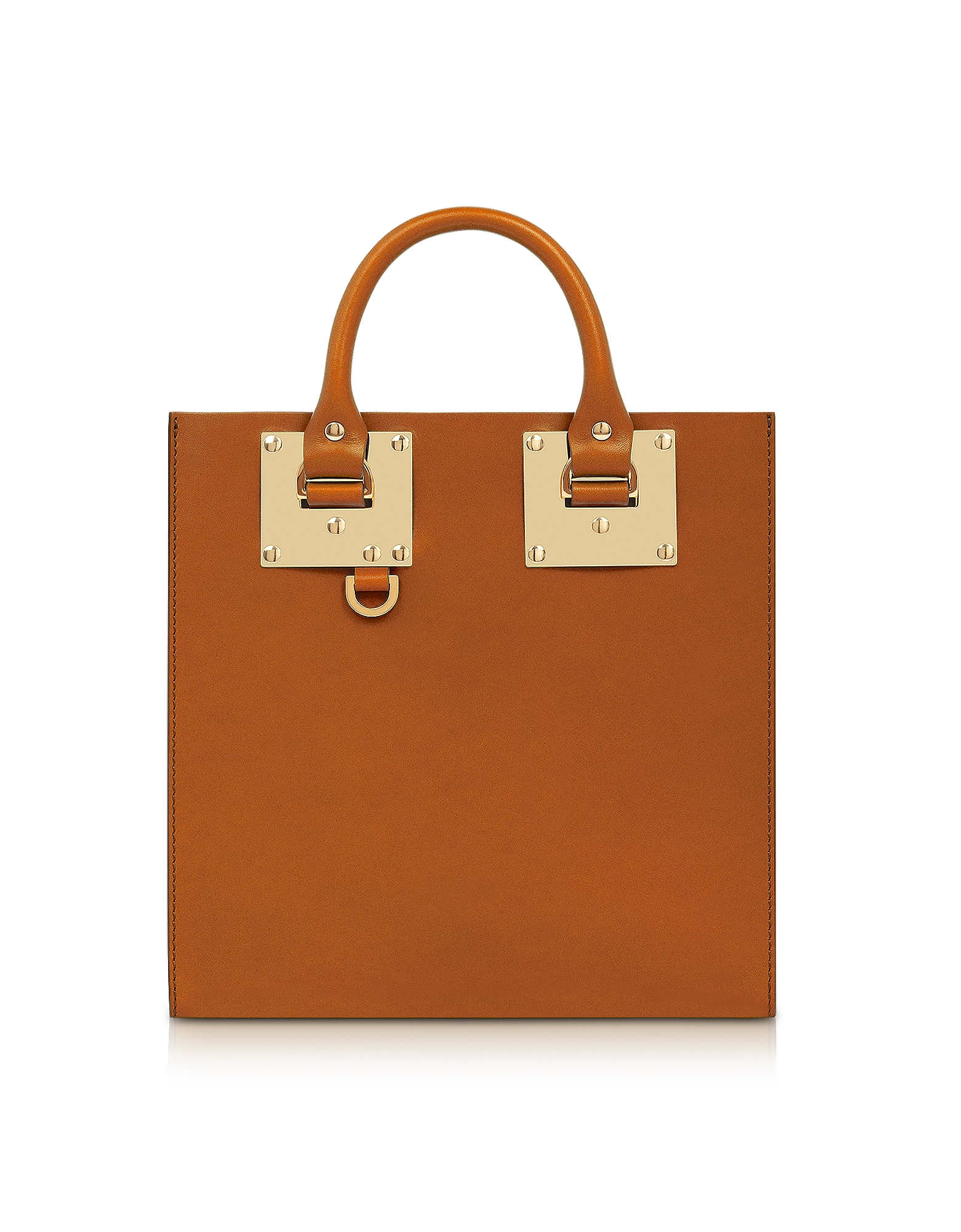 Image of Sophie Hulme Designer Handbags, Tan Albion Square Leather Tote