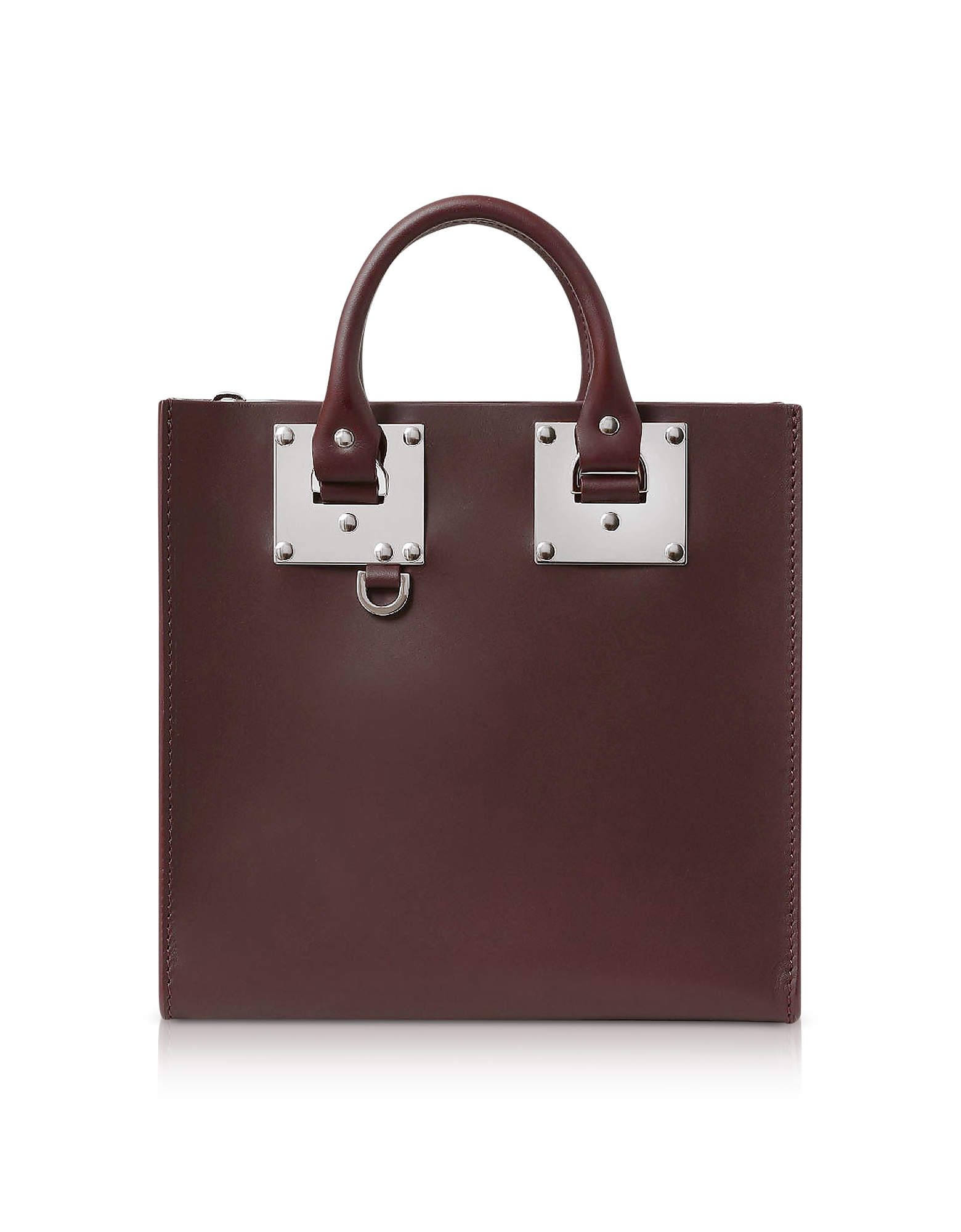 Image of Sophie Hulme Designer Handbags, Oxblood Saddle Leather Square Albion Tote