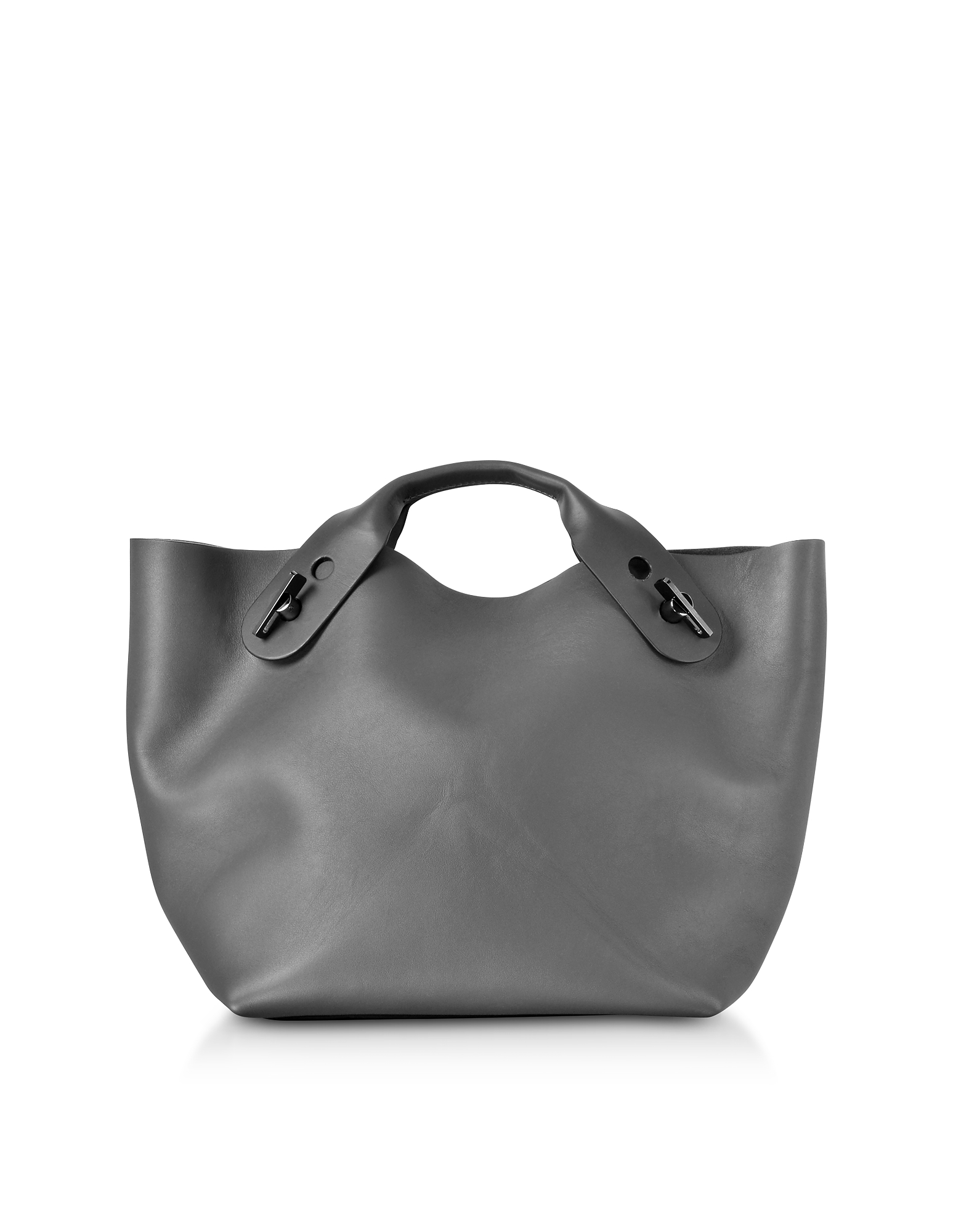 Image of Sophie Hulme Designer Handbags, Charcoal Soft Leather Bolt Tote