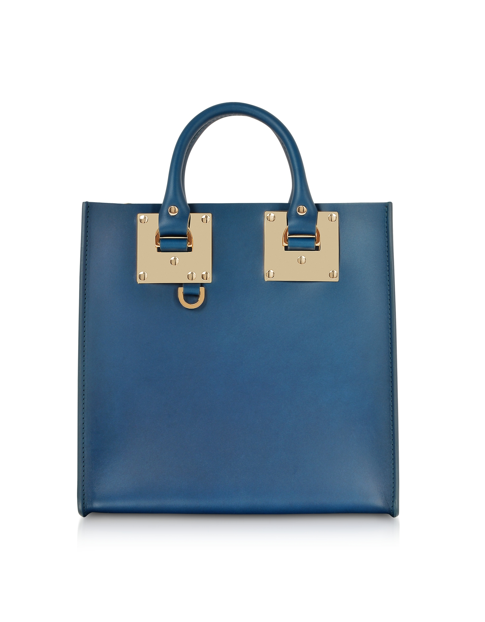 Albion Square Tote in Pelle Blue Canard