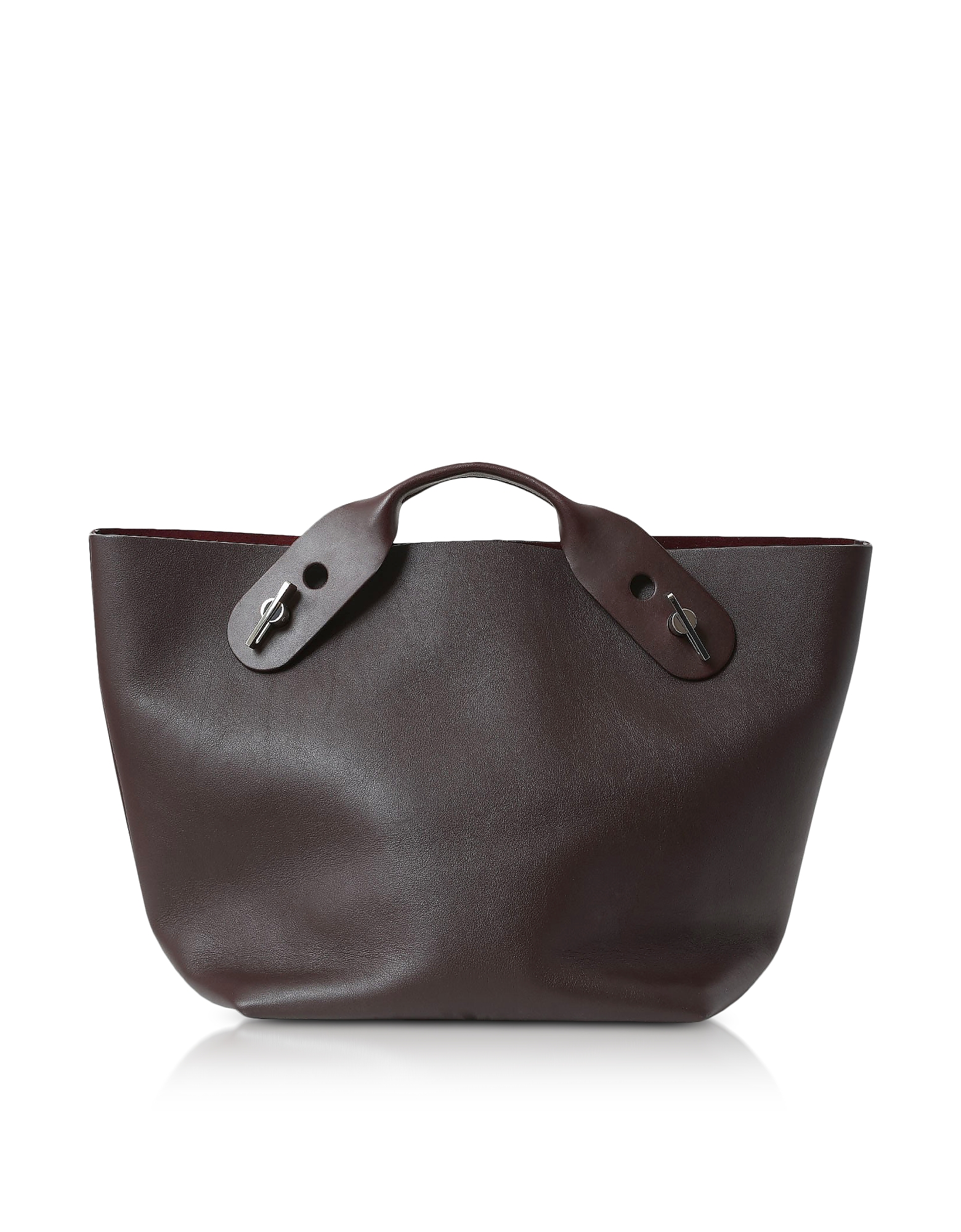 Sophie Hulme Handbags, Oxblood Soft Leather Bolt Tote