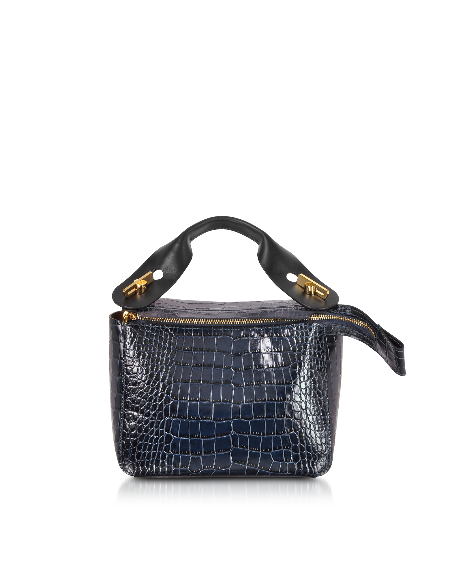 Small Bolt Bag in Pelle Stampa Cocco Blue Canard