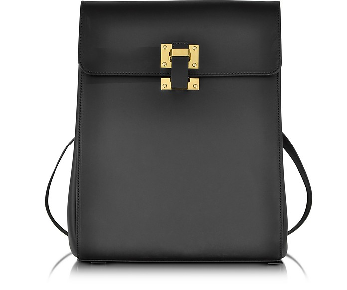 Black Leather Box Flap Rucksack - Sophie Hulme