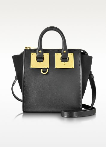 Black Leather and Suede Small Holmes North South Zip Tote - Sophie Hulme