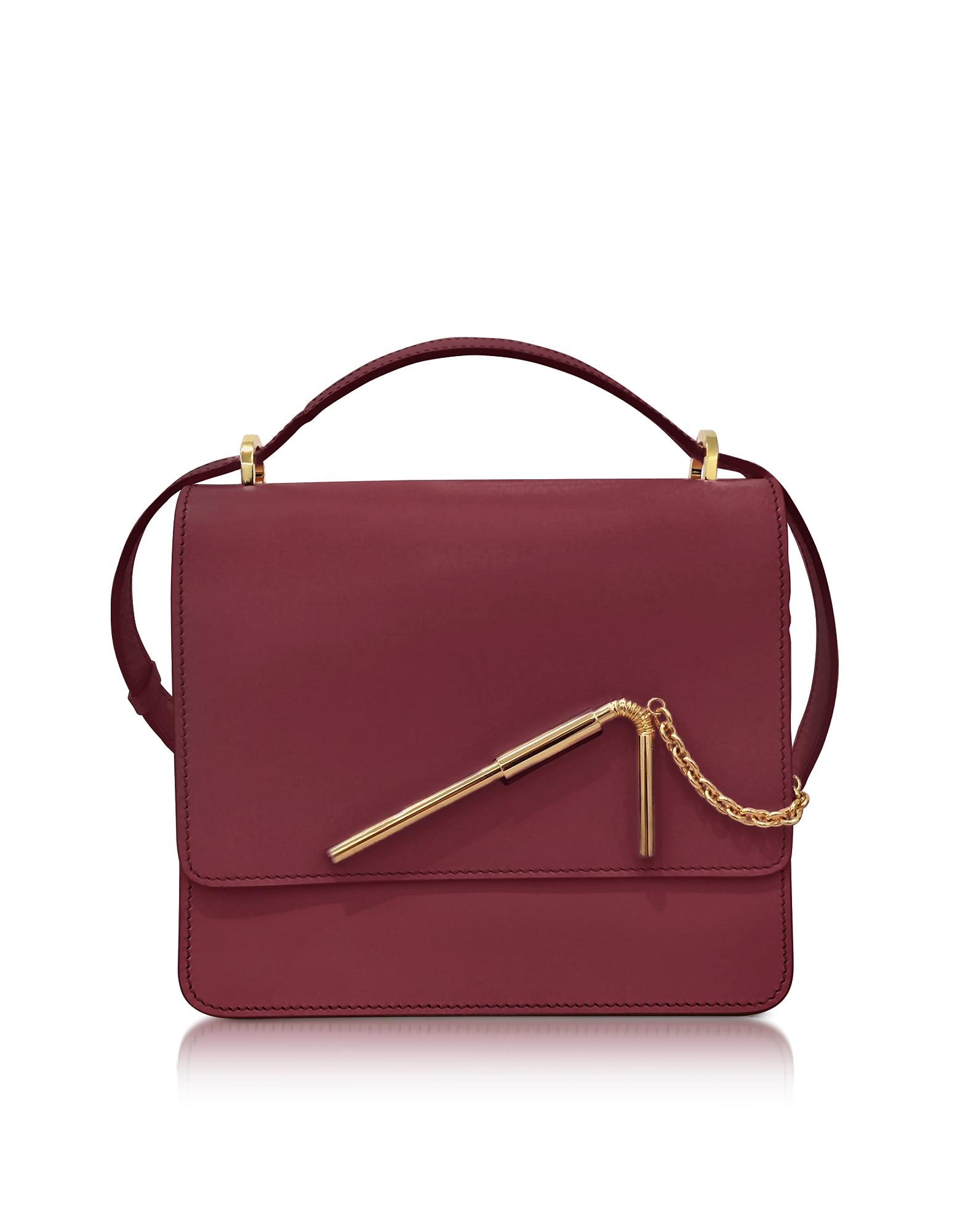 Sophie Hulme Handbags, Dark Red Medium Straw Bag
