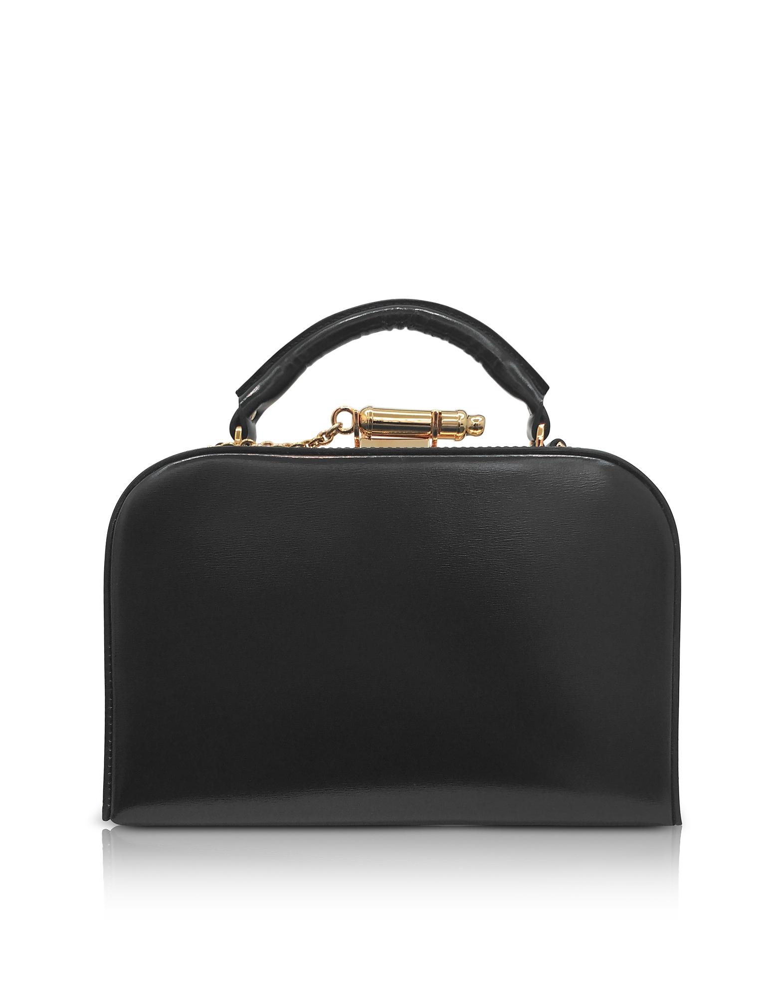 Sophie Hulme Handbags, Black Leather Whistle Case Bag