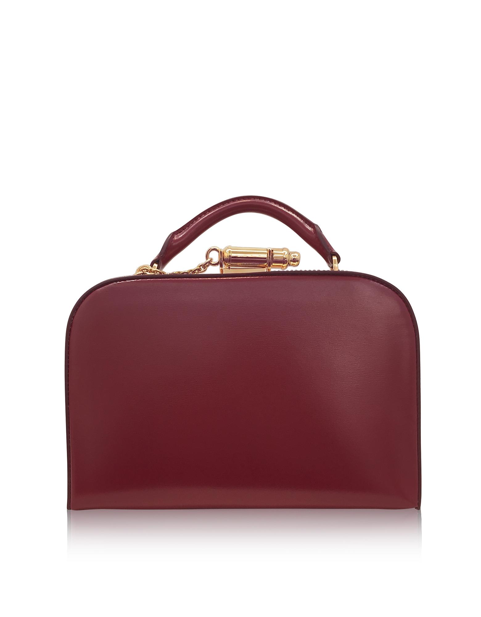 Sophie Hulme Handbags, Dark Red Leather Whistle Case Bag