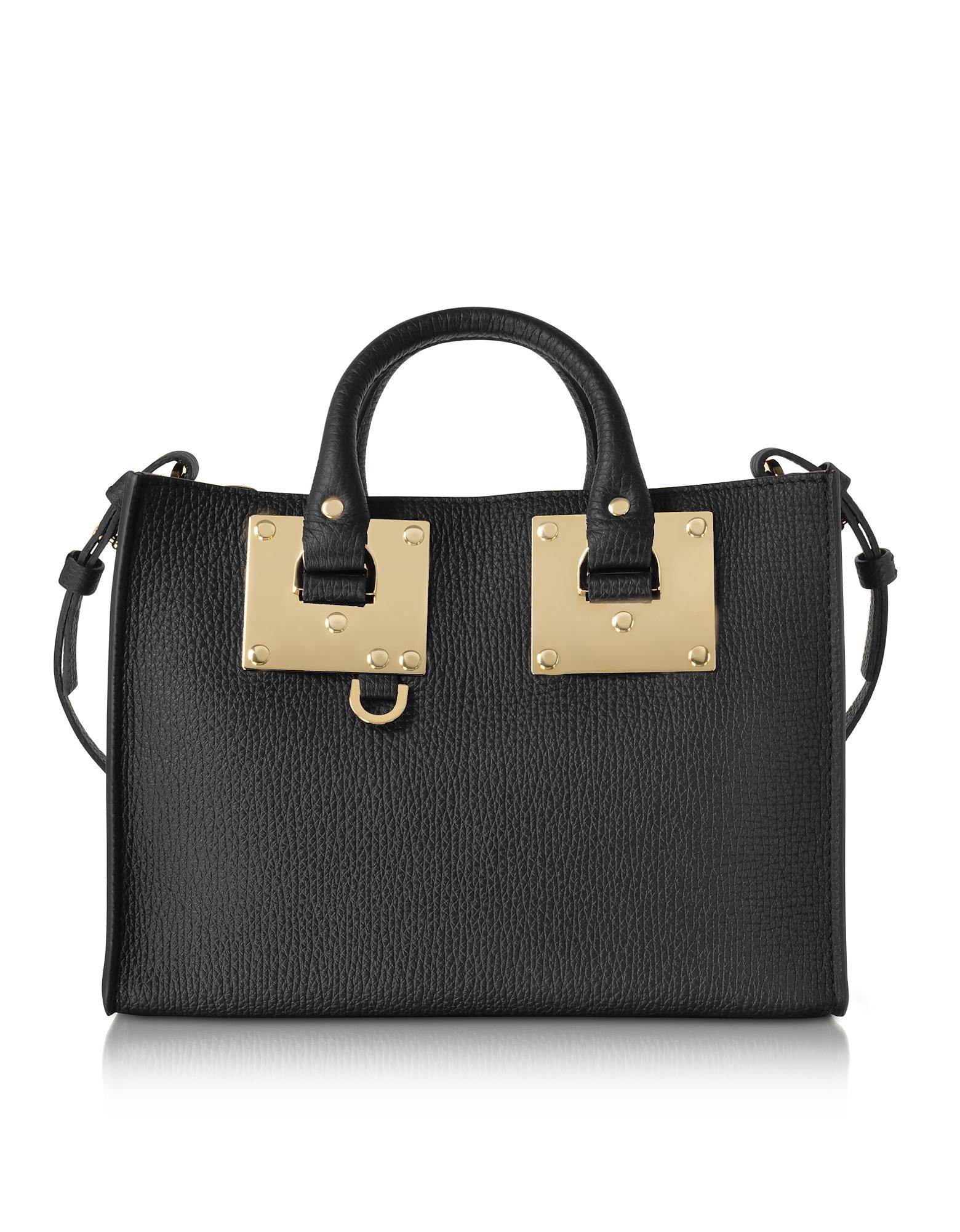 Sophie Hulme Handbags, Black Leather Small E/W Tote