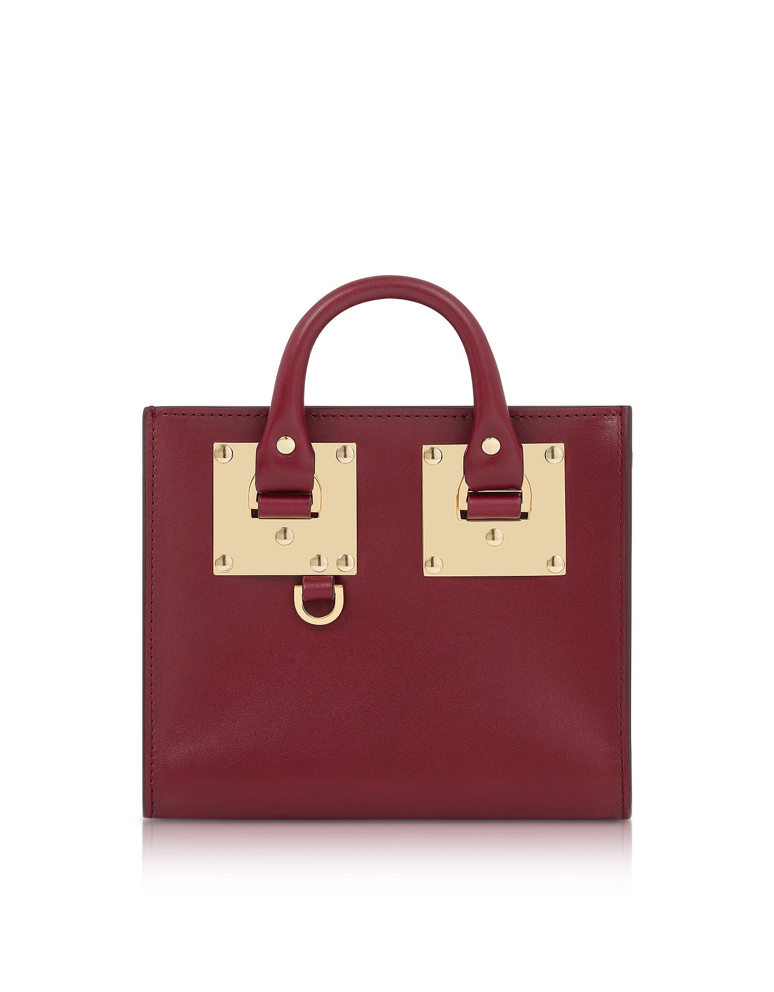 Sophie Hulme Handbags, Dark Red Saddle Leather Albion Box Tote Bag
