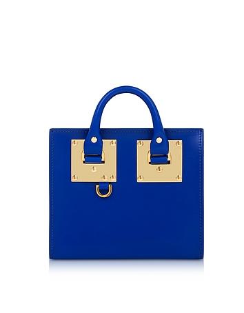 Klein Blue Saddle Leather Albion Box Tote Bag
