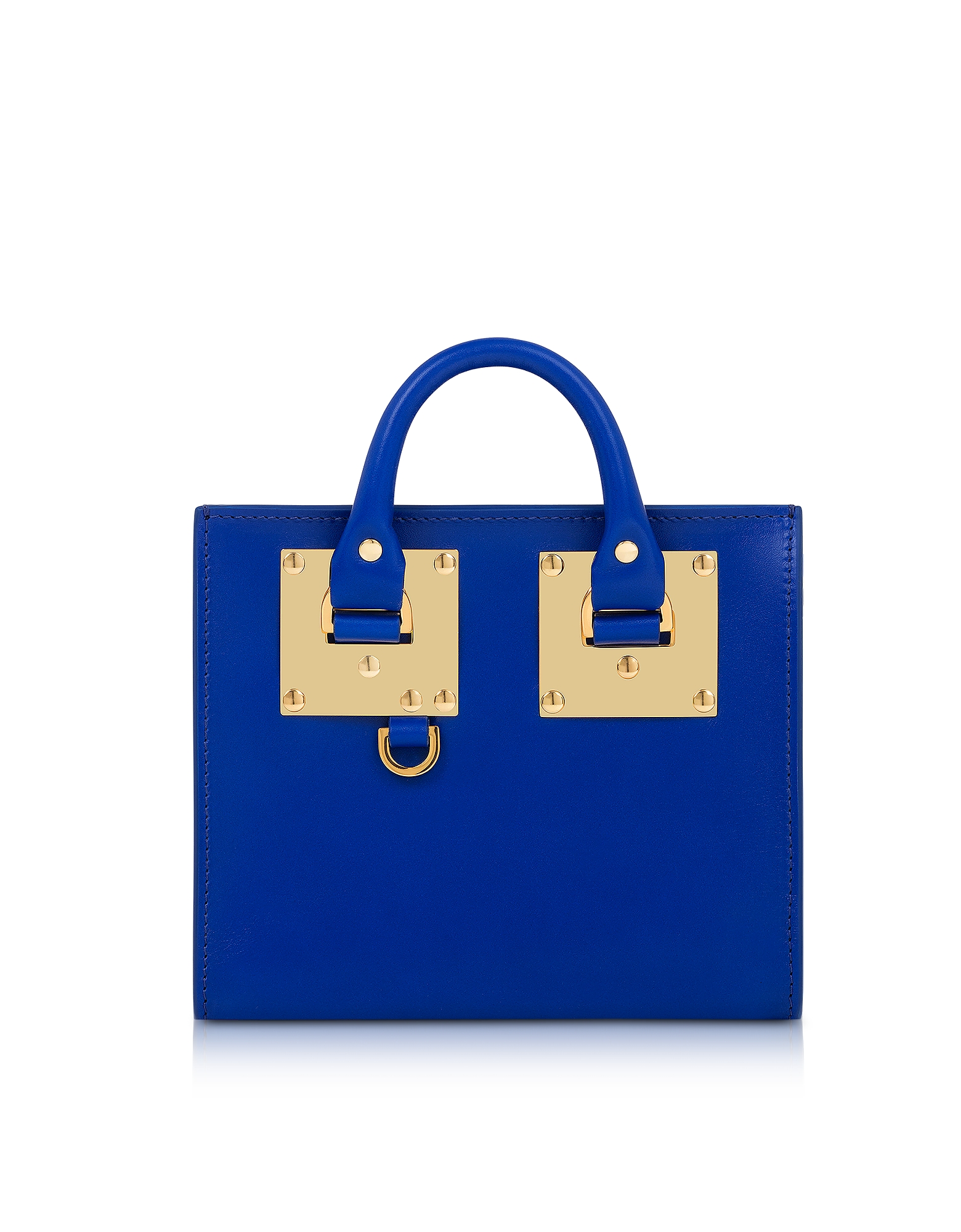Sophie Hulme Handbags, Klein Blue Saddle Leather Albion Box Tote Bag