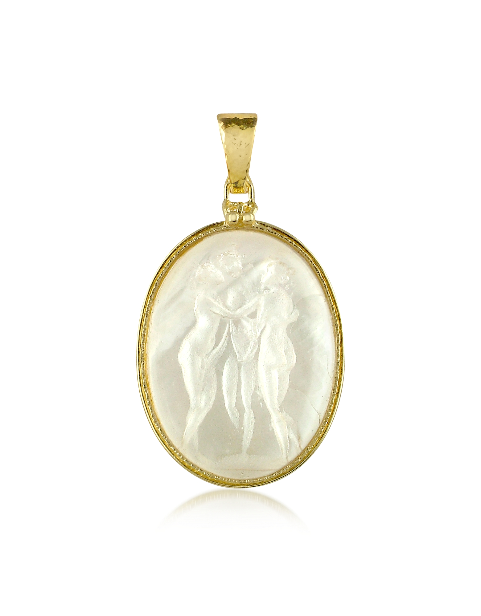 Three Graces - 18K Gold Mother of Pearl Cameo Pendant