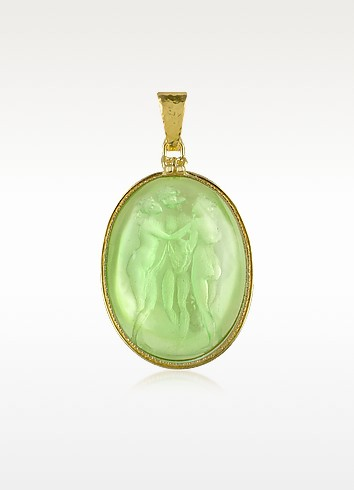 Three Graces - 18K Gold Mother of Pearl Cameo Pendant - Tagliamonte