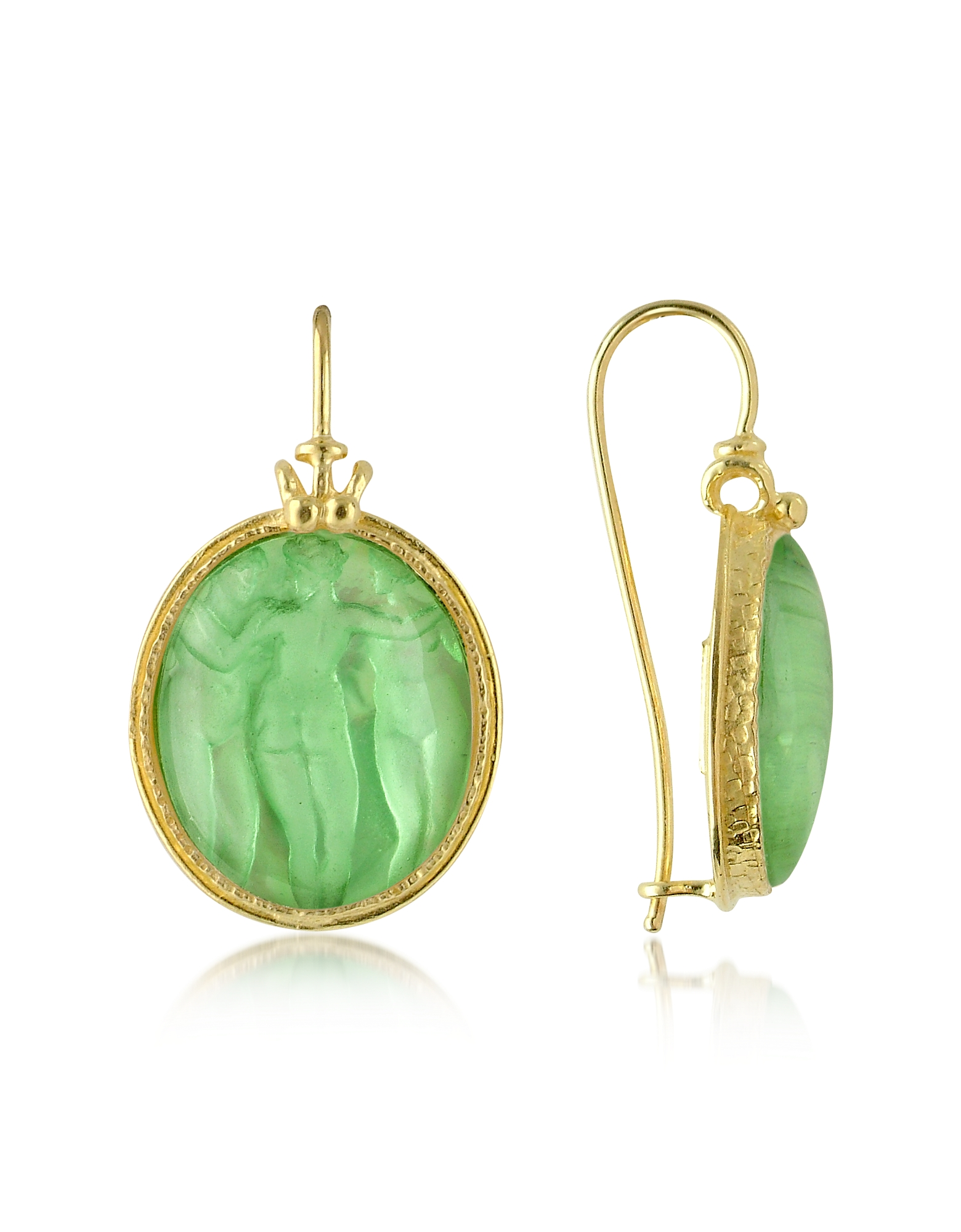 Tagliamonte Designer Cameo, Three Graces - 18K Gold Mother of Pearl Cameo Earrings