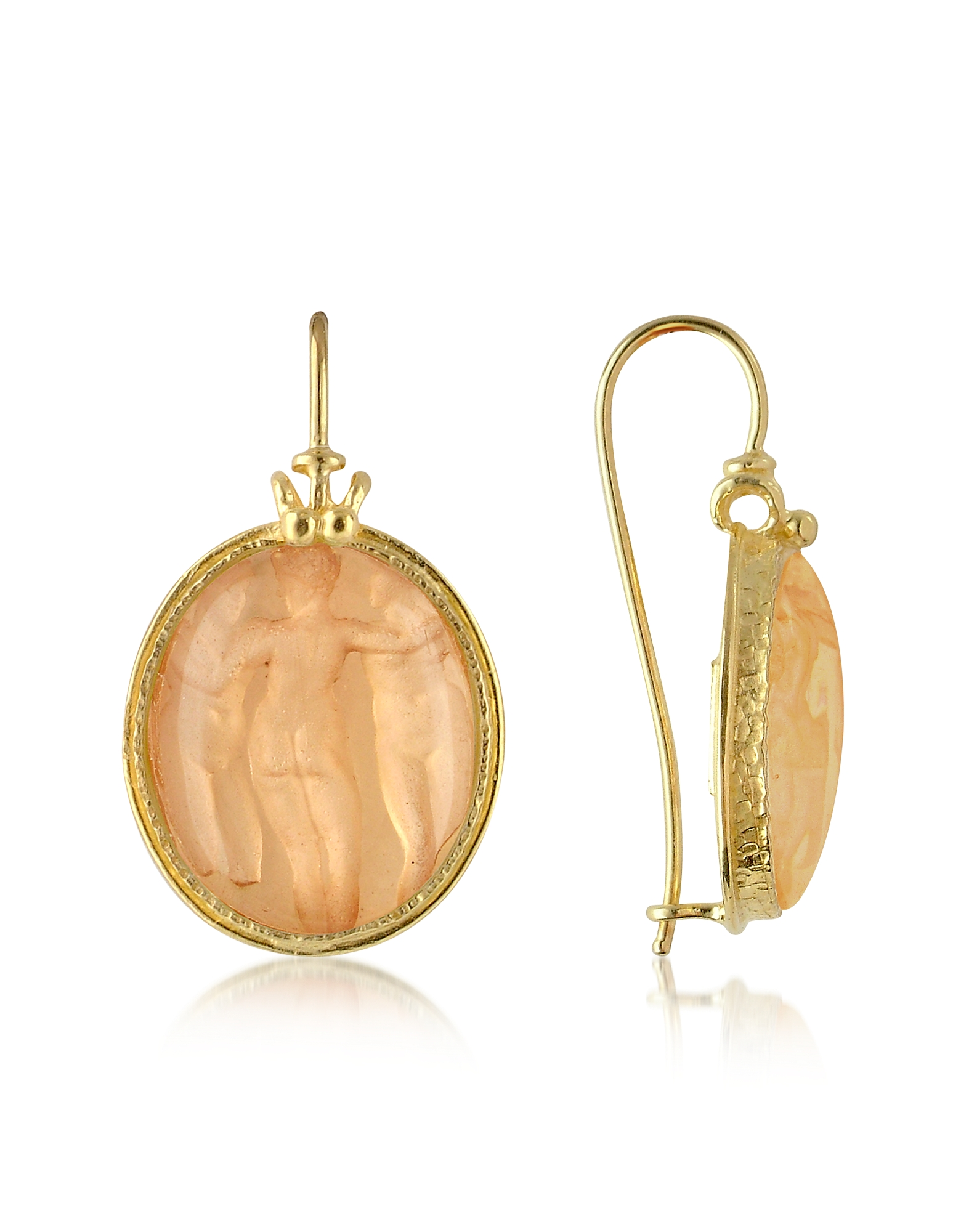 Tagliamonte Cameo, Three Graces - 18K Gold Mother of Pearl Cameo Earrings