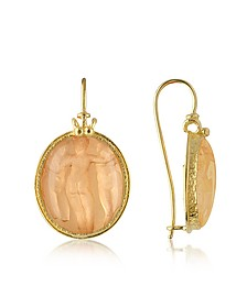 Three Graces - 18K Gold Mother of Pearl Cameo Earrings - Tagliamonte