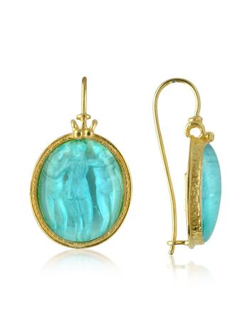 Three Graces - 18K Gold Mother of Pearl Cameo Earrings Better Quality than Blue Nile Diamonds