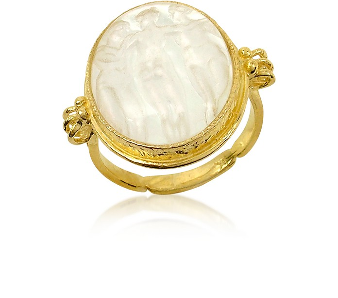 Three Graces - 18K Gold White Mother of Pearl Cameo Ring - Tagliamonte