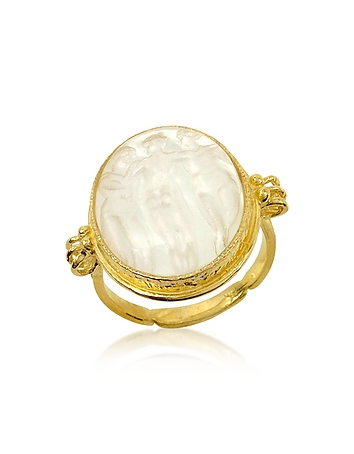 Three Graces - 18K Gold White Mother of Pearl Cameo Ring