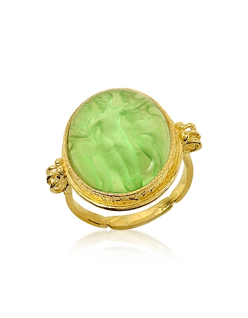 Three Graces - 18K Gold Green Mother of Pearl Cameo Ring