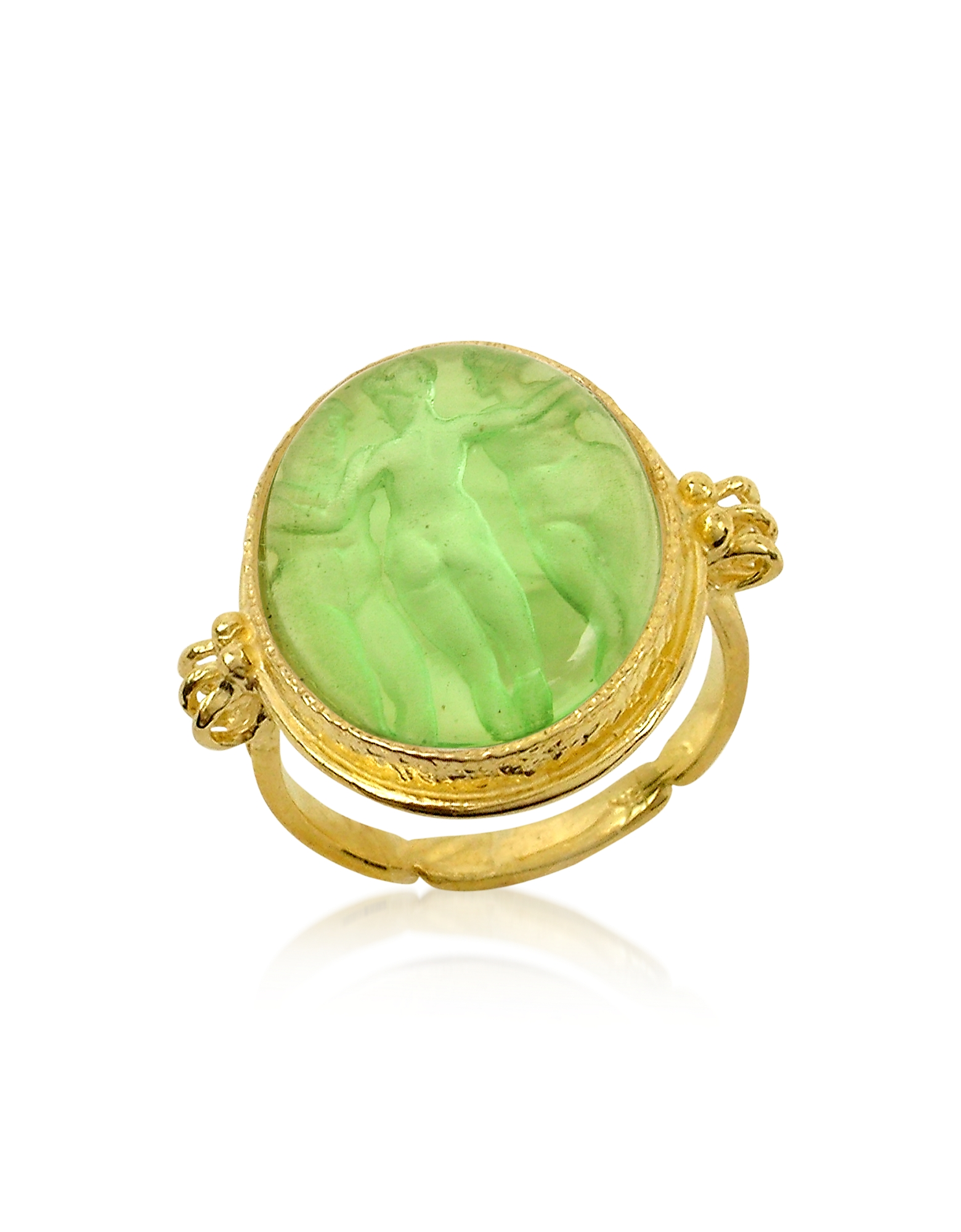 Tagliamonte Cameo, Three Graces - 18K Gold Green Mother of Pearl Cameo Ring