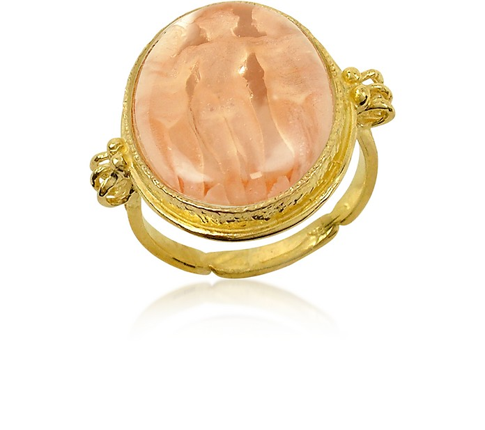 Three Graces - 18K Gold Rose Mother of Pearl Cameo Ring - Tagliamonte
