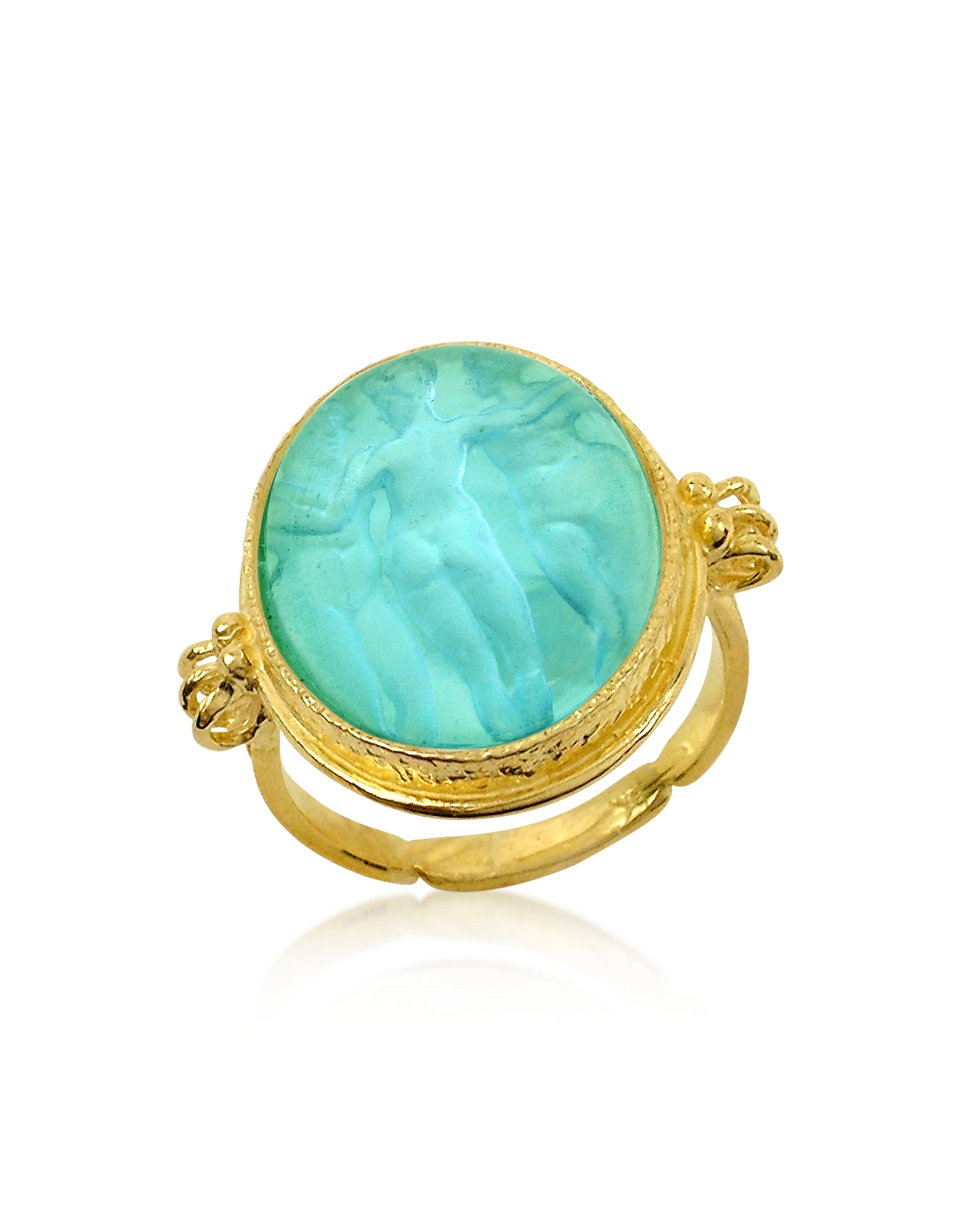 Tagliamonte Cameo, Three Graces - 18K Gold Turquoise Vitreous Paste Cameo Ring