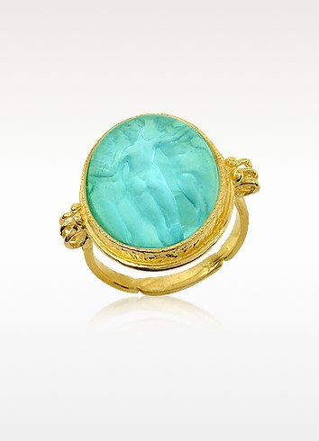 Three Graces - 18K Gold Turquoise Mother of Pearl Cameo Ring - Tagliamonte