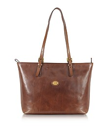 Story Donna Large Brown Leather Tote - The Bridge