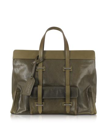 Large Olive Green Leather Tote