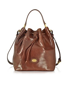 Dark Brown Leather Bucket Bag - The Bridge